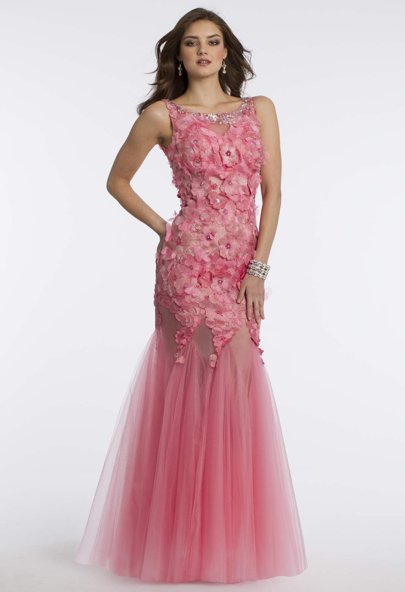 Camille La Vie Tulle and 3-D Flower Dress with Open Back for Prom in ...