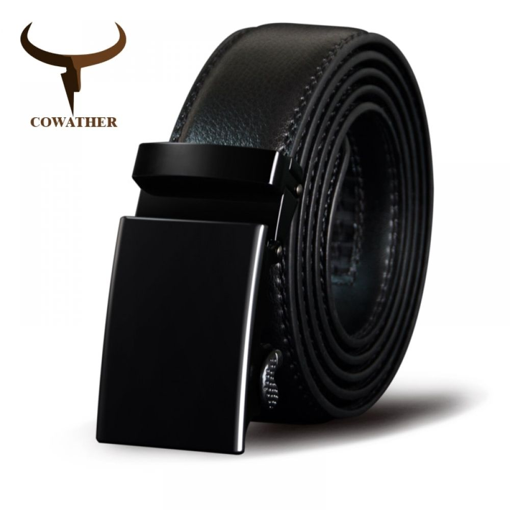 New Luxury Men Genuine Leather Alloy Automatic Buckle Waistband Belt Waist Strap