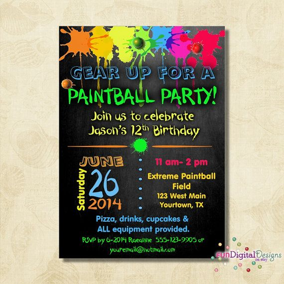 Birthday Paintball Party Invitation Birthday By Fundigitaldesigns 12 50 Paintball Party Paintball Birthday Party Paintball Birthday