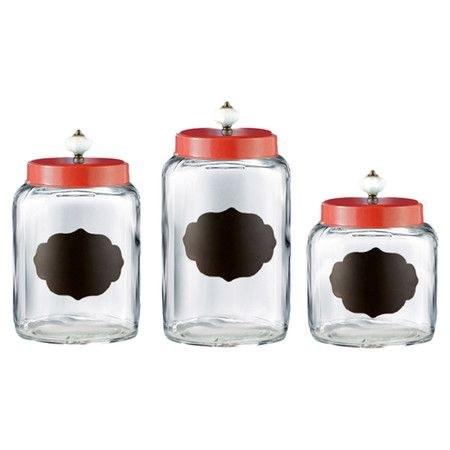 3 Piece Erin Canister Set Glass Canister Set Glass Canisters Glass Kitchen Canisters