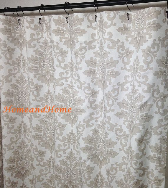 Fabric Shower Curtain Custom Cecilia Ecru Taupe Gray White 72 X 84 96 108  Extra Long Extra Wide Shower Curtain