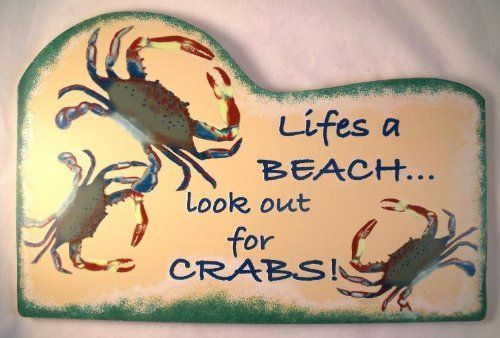 Tropical Tiki Lifes A Beach Crab Wood Sign Plaque by Beachcombers ...