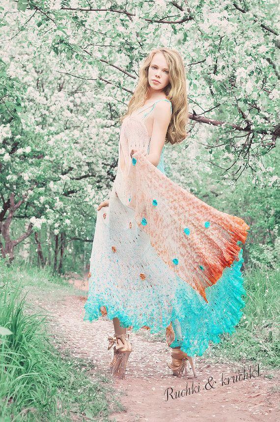 Dress maxi crochet knitted boho gypsy grecian by RuchkiKruchkI ...