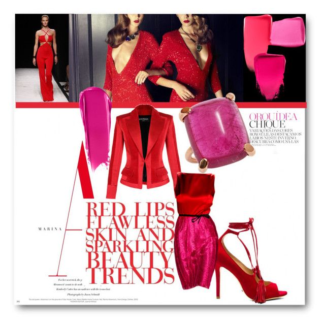 """""""#Red and Pink Competition"""" by nikkisg ❤ liked on Polyvore featuring Balmain, Schutz, Revlon, NARS Cosmetics and Ruffian"""