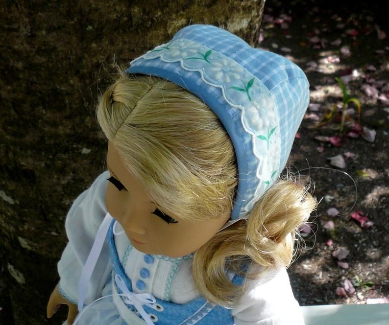 Reserved for ME. American Girl, 18 inch doll clothes: Scandinavian style dress, cap, pantalettes, and shoes in blue and white.
