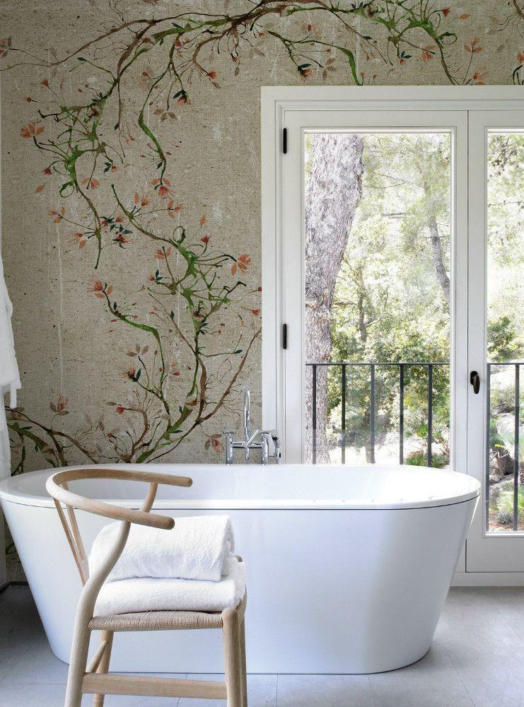 #bathroom #wallpaper with floral pattern NEW ROMANTIC by Wall&decò   #design Antonella Guidi @wallanddeco