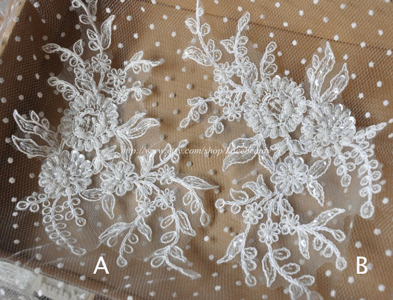 Ivory Lace Appliques Large Beaded Embroidered  Patches For Wedding Supplies 1 pcs