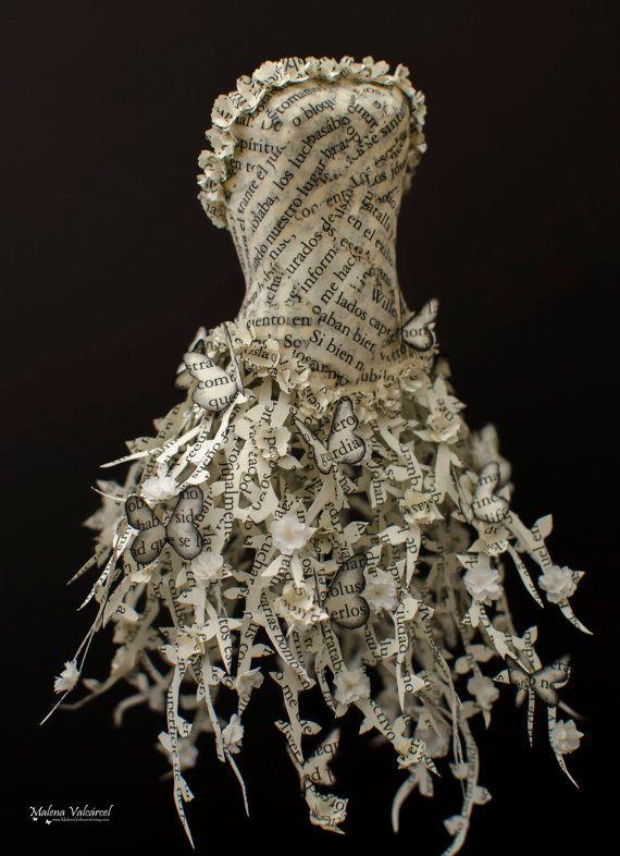 Fairytale Paper Dress - Paper Sculpture - Miniature Book Paper Dress ...