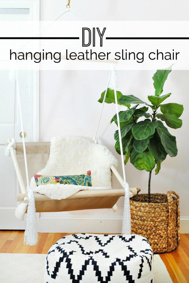 Easy To Follow Tutorial For Making A Hanging Leather Sling Chair The Chronicles Of Home Indoorhangingchairs