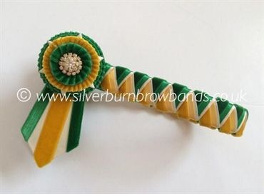 Emerald green velvet & satin, gold velvet & satin and cream satin sharkstooth pictured with angled pointed flags  www.silverburnbrowbands.co.uk
