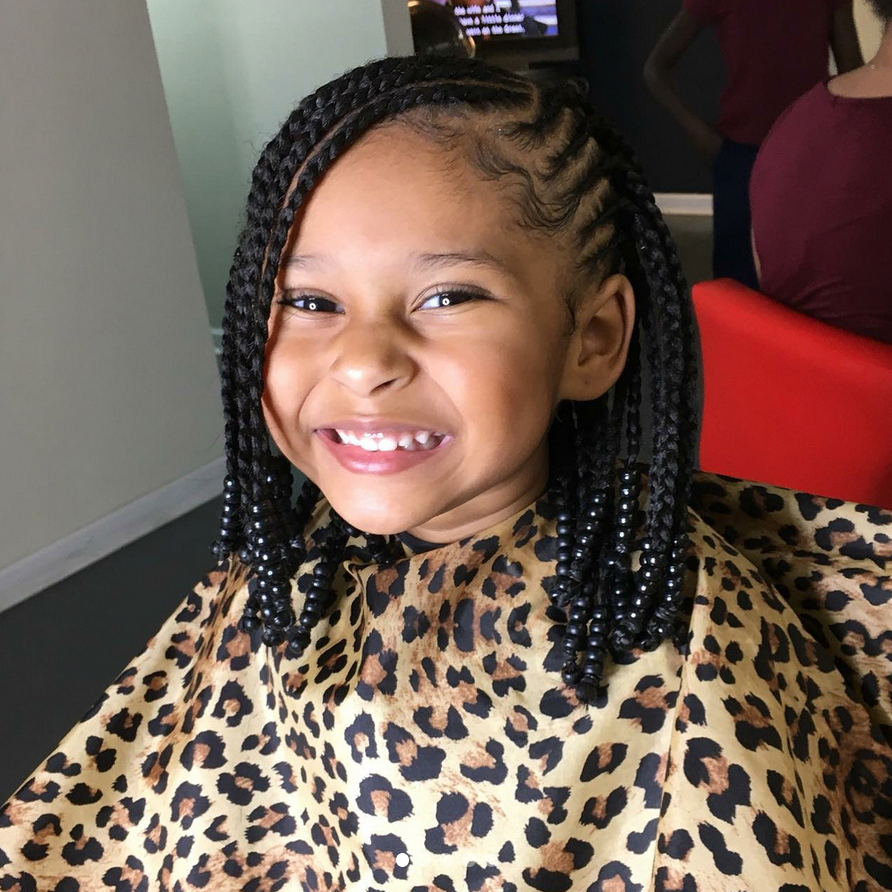 Braided Bob From Summer Camp To The Beach These Styles Are Perfect For Kids Bangshairsty Black Kids Hairstyles Lil Girl Hairstyles Girls Hairstyles Braids
