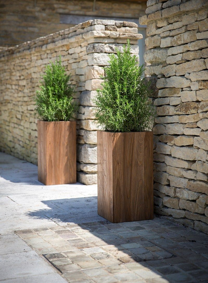 Tall garden planter made from reclaimed teak hardwearing for Wooden planters how to make