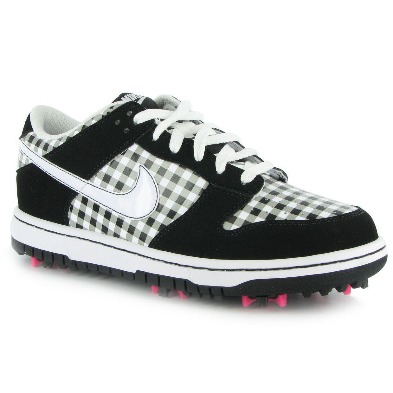 Nike Dunk NG White Black Plaid 10 Medium Ladies Golf Shoes