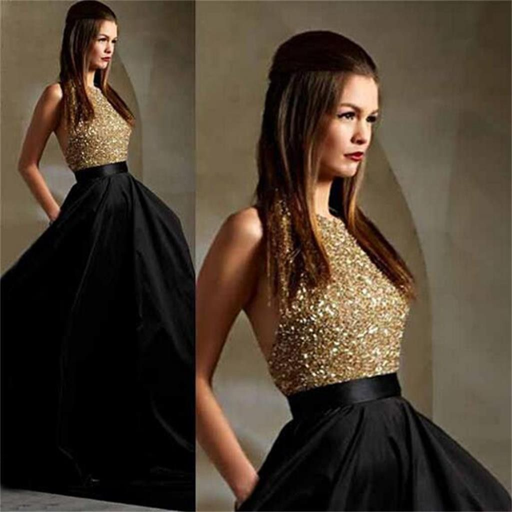 Long black party aline sparkle sequined pretty backless prom
