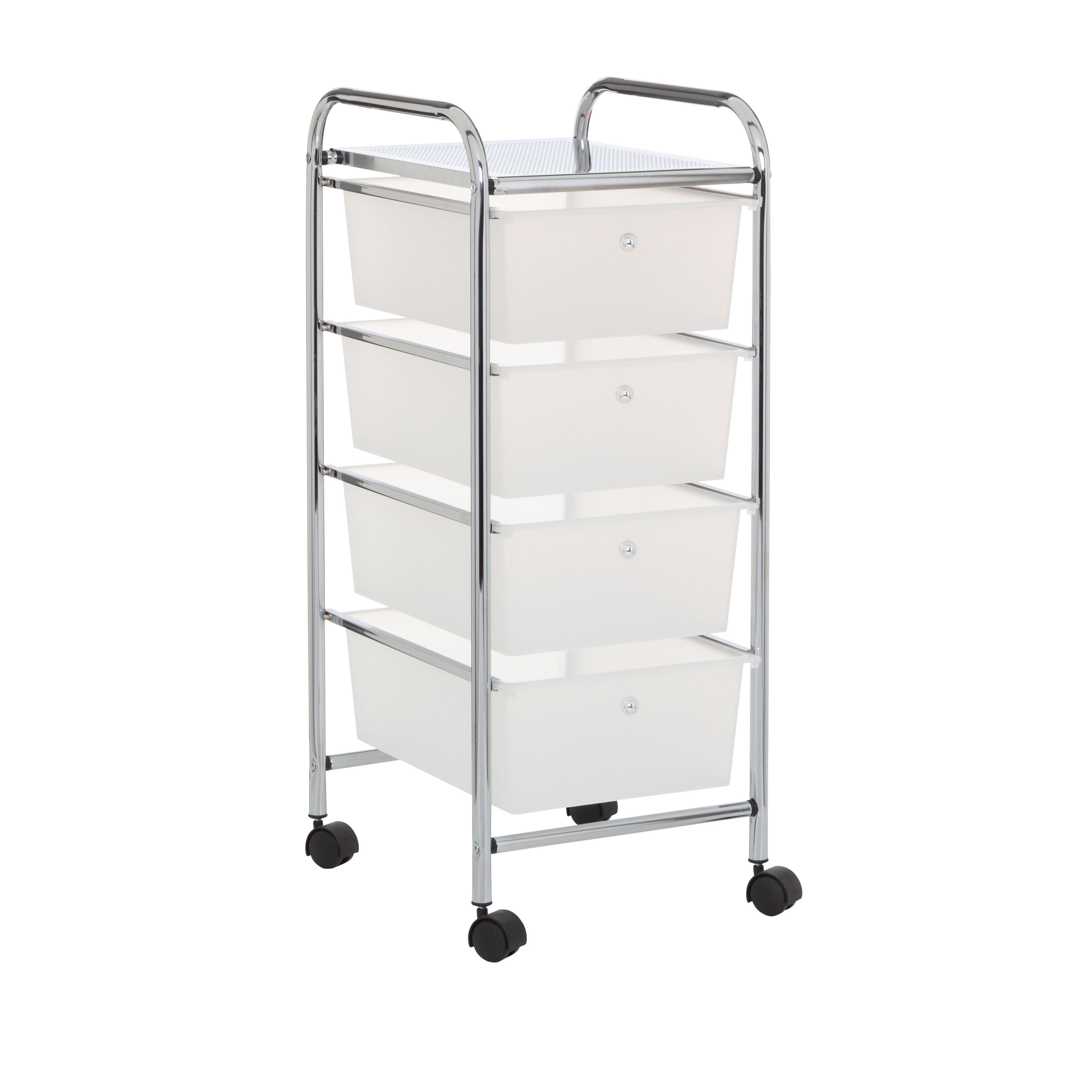 Carrito 4 alturas con cestas de plástico Carrito estrecho de 4 ...