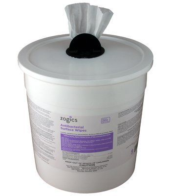 Antibacterial Wipes in Bucket Dispenser by Zogics. $28.47. Alcohol, phenol and bleach free. 800 wipes per roll. Made in the U.S.A. Refillable, durable bucket with closing mechanism to prevent drying out. EPA registered Antibacterial Wipes kill 99.9% of germs and bacteria. Zogics Antibacterial Wipes are EPA registered to kill 99.9% of germs and bacteria in just 15 seconds, as well as MRSA, HIV-1, H1N1, E coli, and much more. Our antibacterial surface wipes are gre...