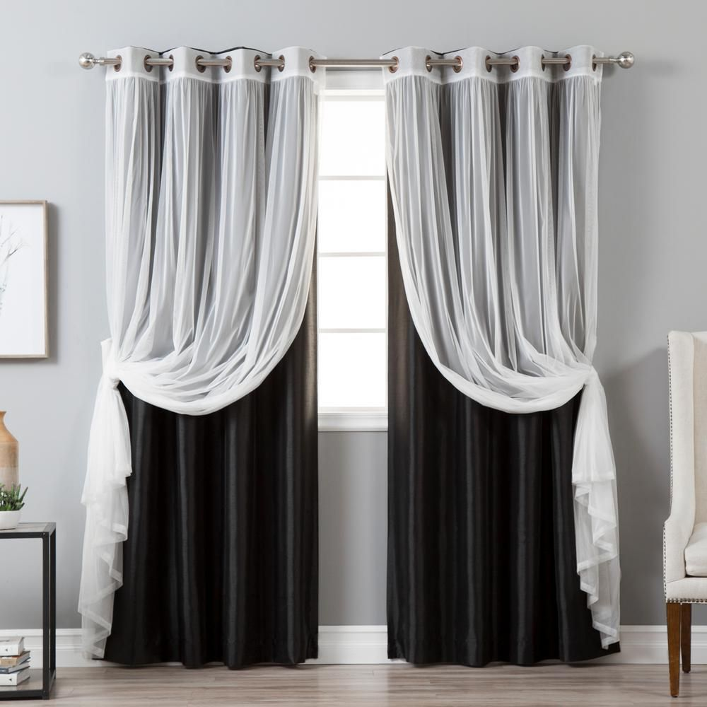 Best Home Fashion 84 In L Umixm Tulle And Black Faux Silk Blackout Curtain 4 Pack Mm Gr Tulle Gr Bo Silk 84 Black The Home Depot In 2020 Faux Silk Curtains Panel Curtains Black Curtains Bedroom