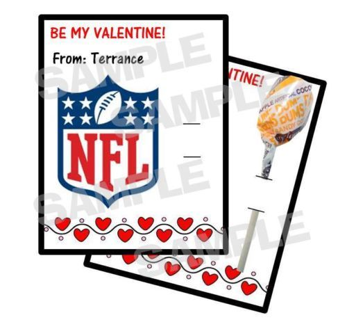 24 NFL FOOTBALL Valentines Day Card HOLDS LOLLIPOP Personalized – Football Valentines Day Cards