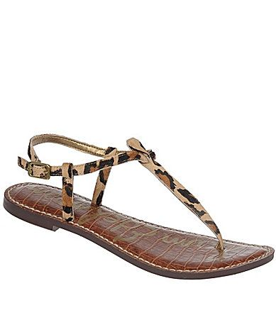 Sam Edelman Gigi Leopard Print Calf Hair T Strap Sandals T Strap Sandals White Leather Sandals Ankle Strap Sandals Flat