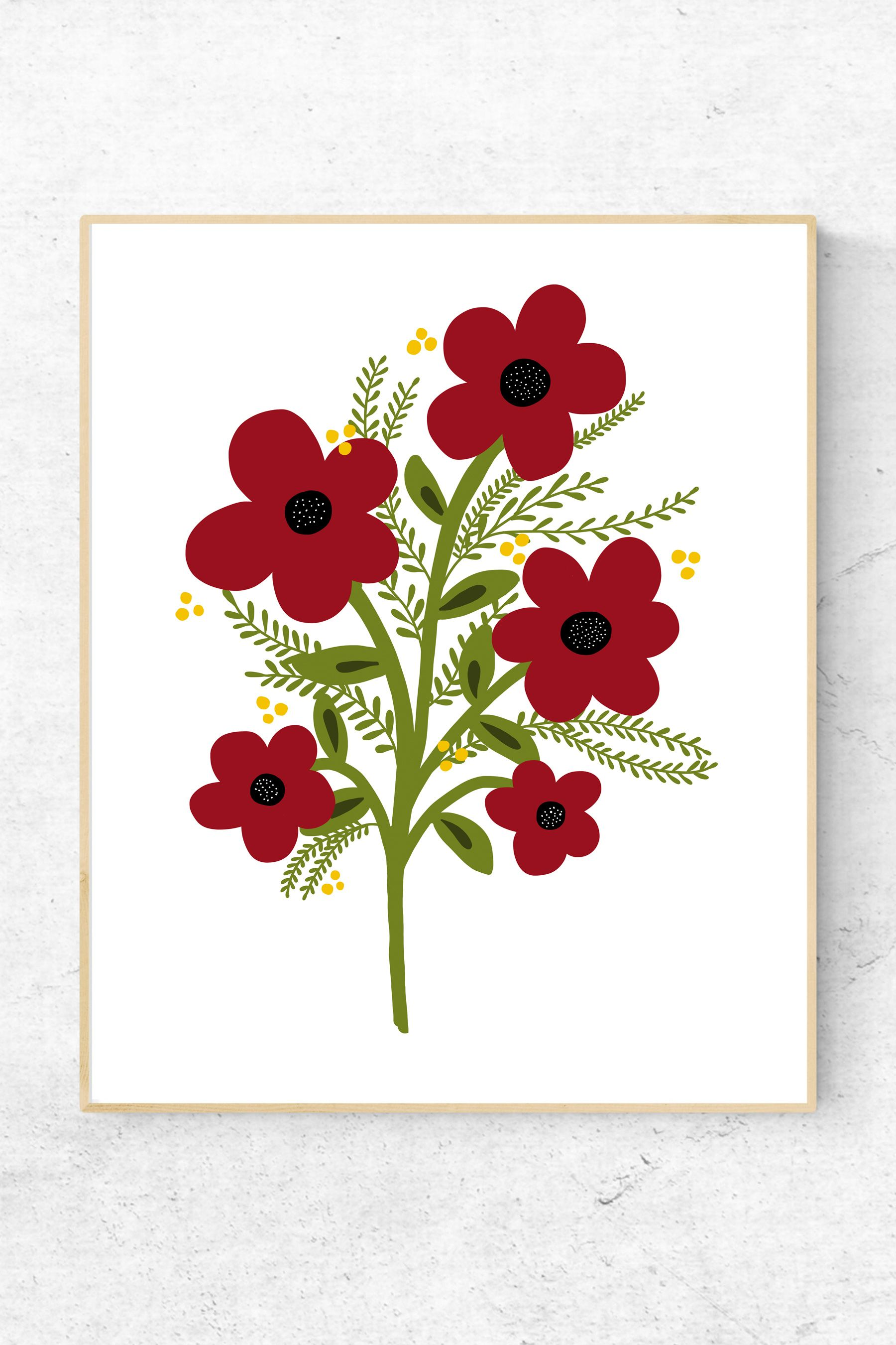 Floral Printable Art Flowers Illustration Print Red Flowers Etsy