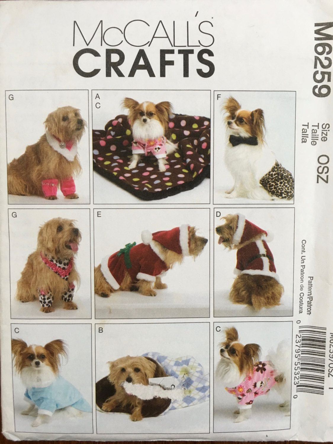 Mccallsm6259 great dog costume pattern pet clothes christmas mccall sewing pattern 6259 use to make dog clothes blanket sleeping bag length sizes 6 inches to 16 inches jeuxipadfo Image collections
