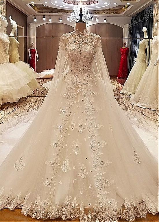 Fabulous Tulle Illusion High Collar A-line Wedding Dresses With Beadings & Lace Appliques & 3D Flowers