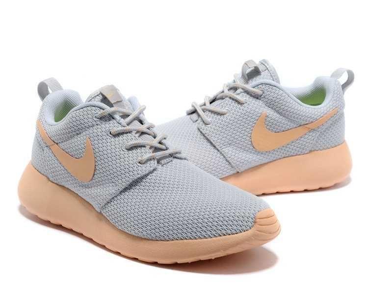 womens nike roshe run grey light orange shoes