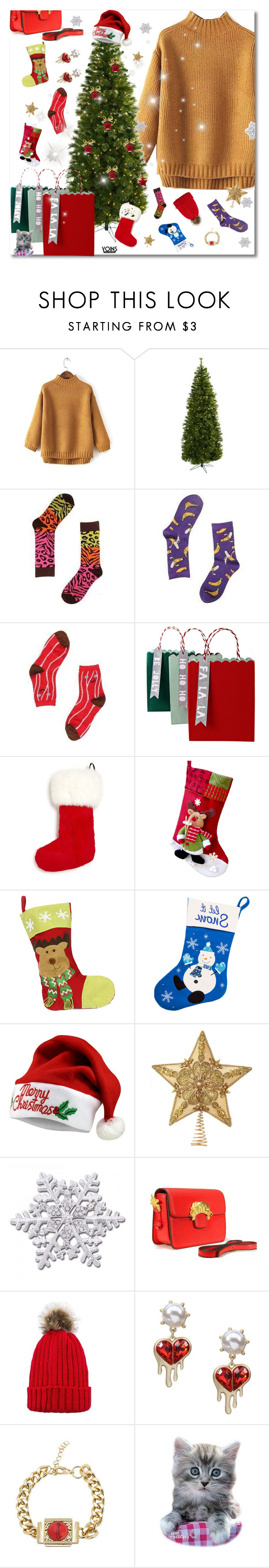 """""""What do you think of  YOINS  about Christmas"""" by yoinscollection ❤ liked on Polyvore featuring Nearly Natural, Meri Meri, The Fur Salon and WithChic"""