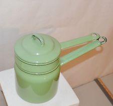 Enamelware VINTAGE Green Double Boiler Pot