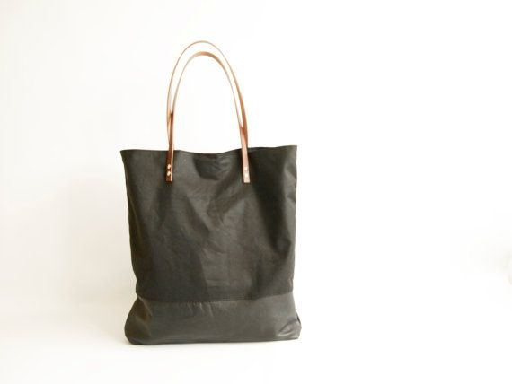 Canvas Bag Black Leather and Black Waxed Canvas Tote Bag by byHOLM