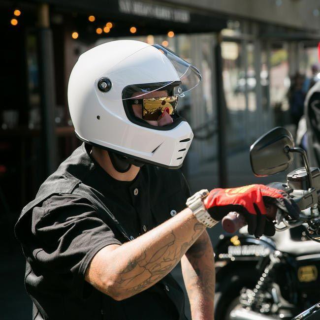 Casque Biltwell Lane Splitter Gloss White Intégral Moto Custom