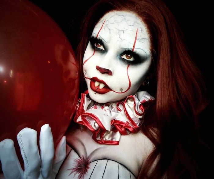 Maquillage clown - nez rouge, humour noir | Maquillage clown, Maquillage halloween clown et ...