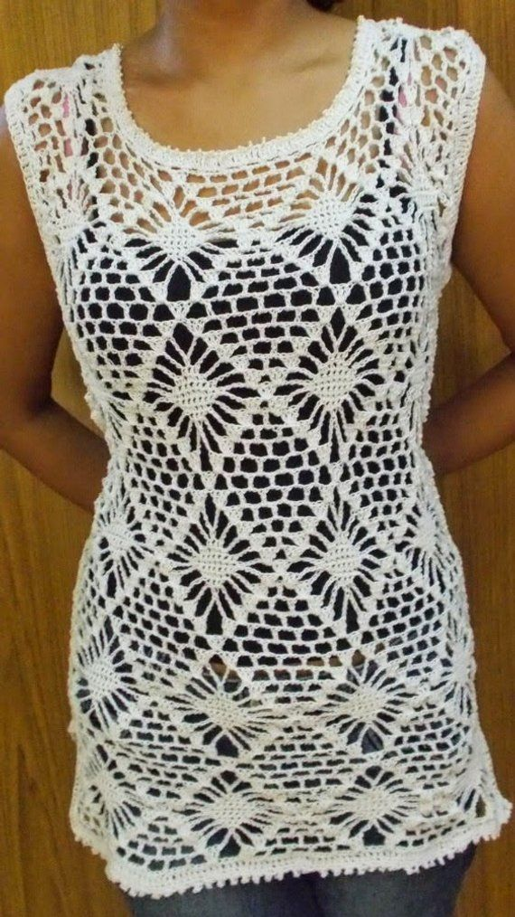 Crochet White Diamond Top Cover Up Blouse Tunic Pullover Lace