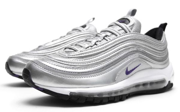 Nike Air Max 97 In Metallic Silver/ Club Purple