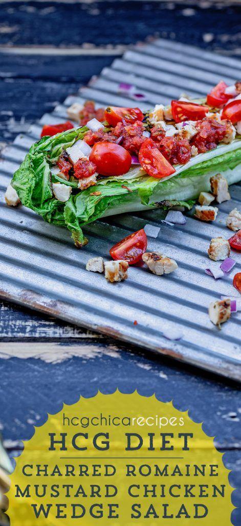 hCG Recipe | Charred Romaine & Mustard Chicken Salad - SP/AP #protiendiet