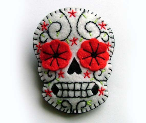 Sugar Skull Brooch Day of the Dead Mexican Jewelry.
