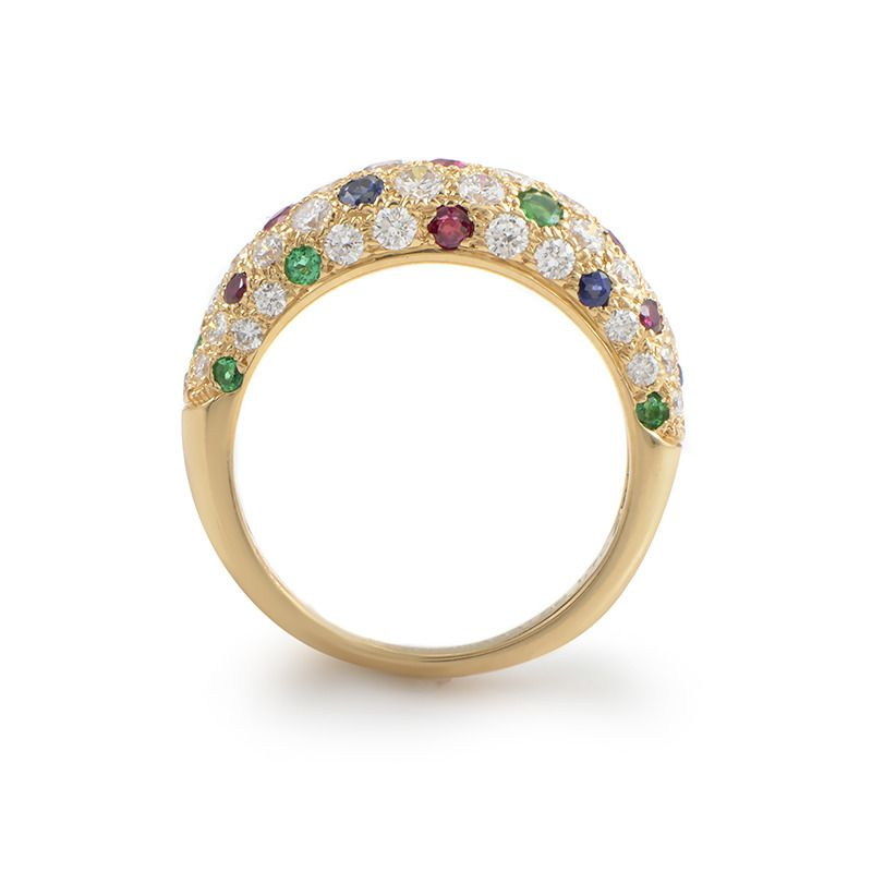 Van Cleef & Arpels Precious Gemstone Gold Band Ring | From a unique collection of vintage band rings at https://www.1stdibs.com/jewelry/rings/band-rings/