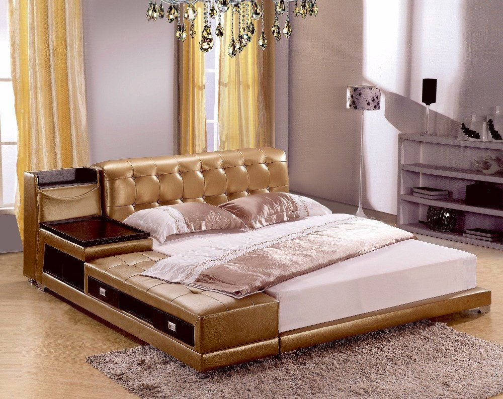 Post Modern Real Genuine Leather Bed With Storage Box And