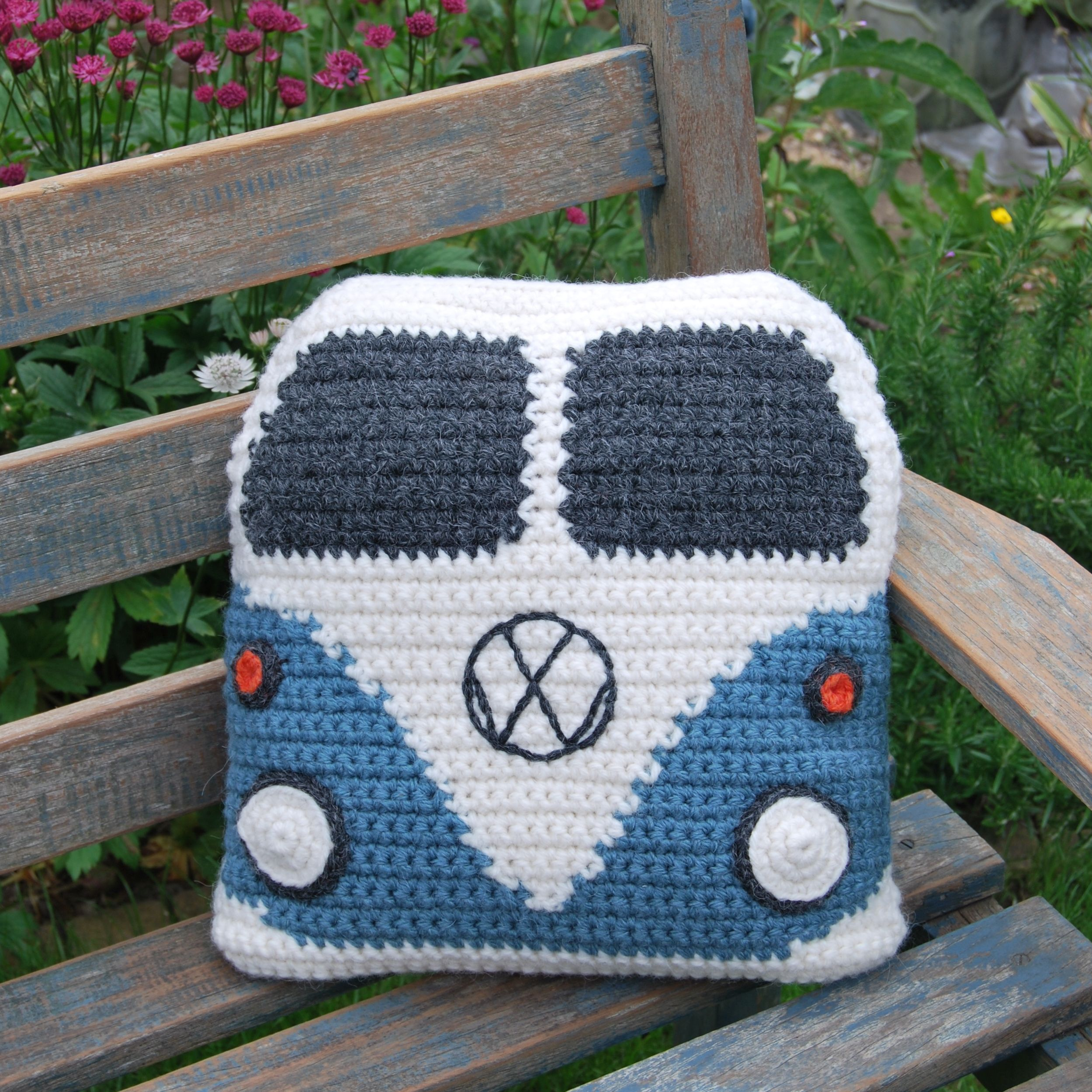 crochet a campervan cushion cover this pattern creates a square cushion and has a pattern for the back of the van cushion