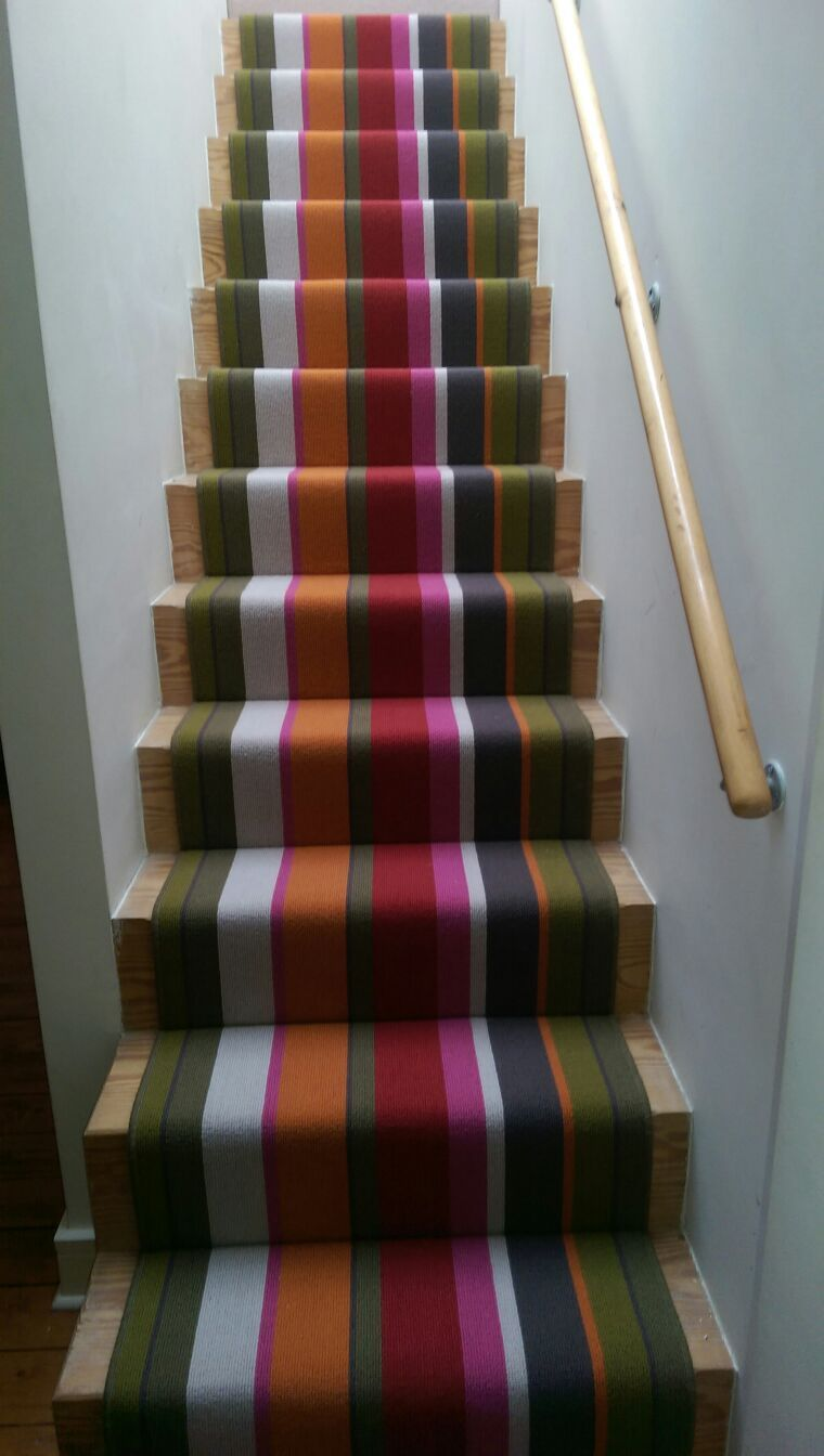 Rainbow Multi Colour Stripe Runner On Wooden Stairs By B R Carpet