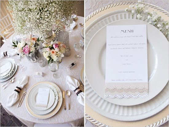 Elegant wedding table setting, with baby\'s breath, lace, and ...