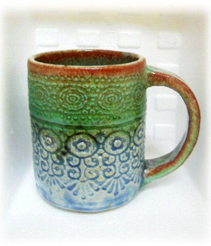 Special Color, Unique Mug, A Beautiful Green U0026 Blue With Red Rim, Sweet  Lace Imprint Handmade Ceramic Mug