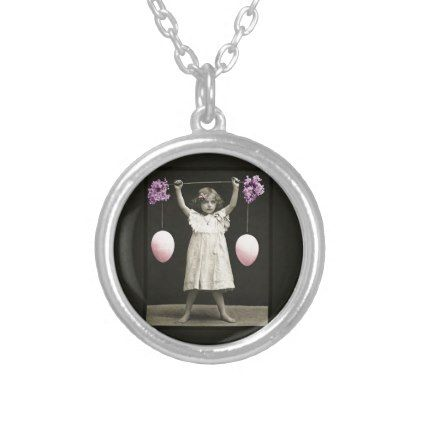 #vintage - #Little Girl Lifting Easter Eggs Vintage Photo Silver Plated Necklace