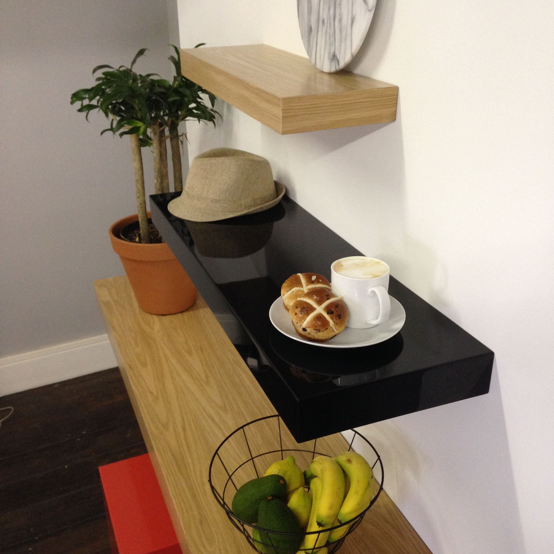 Ode Floating Shelves In Black Duco And Oak Veneer Order Custom Sized To Fit