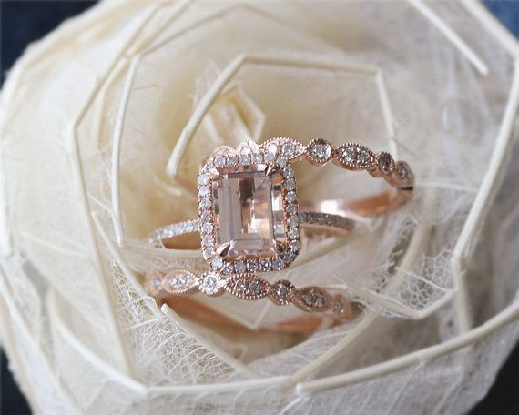 ring set emerald cut rose gold morganite by julianstudio engagement ring wedding band and one year anniversary band because im ocd and i have a thing - Morganite Wedding Ring