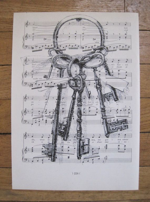 vintage skeleton keys shabby chic sheet music lot by