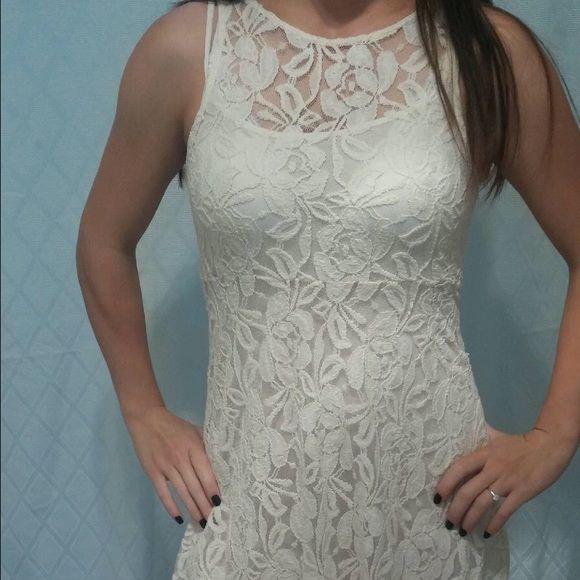 Cream colored dress with leggings