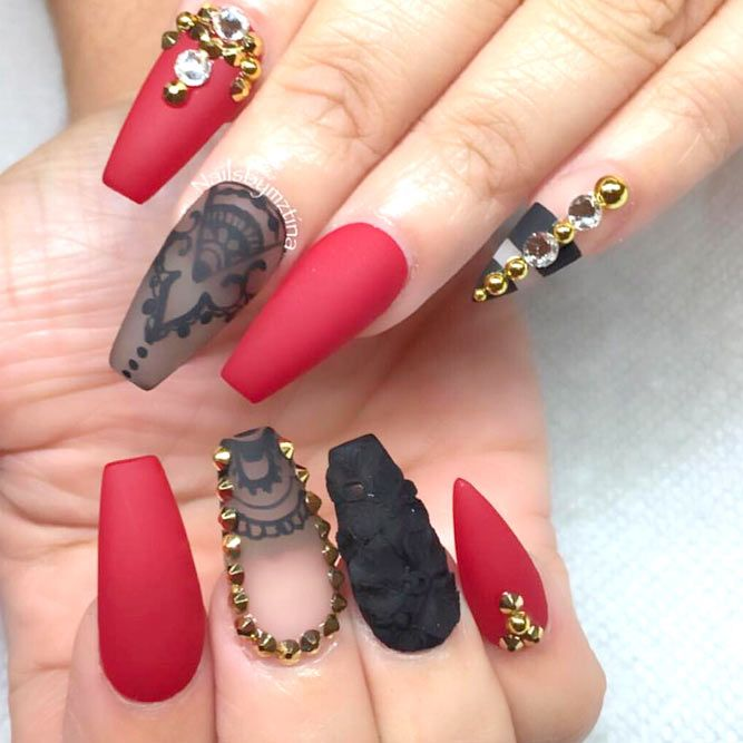 Red acrylic nails designs trendy you also must try pinterest rh in