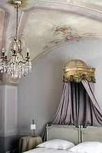 French bedroom - love the painting in the corner of the ceiling