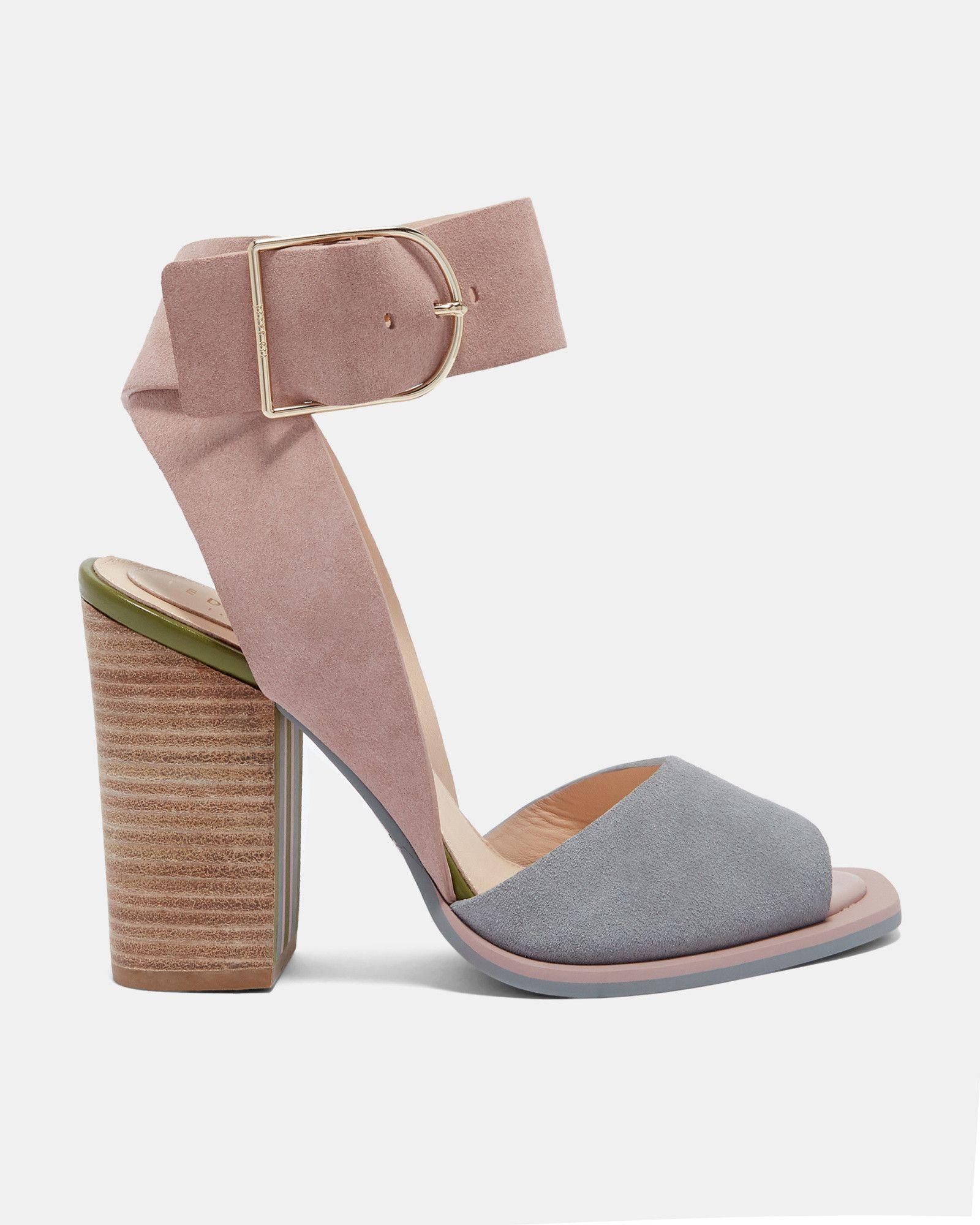 1e18818b6f6c Ted Baker Suede stripe heel detail sandals Mink